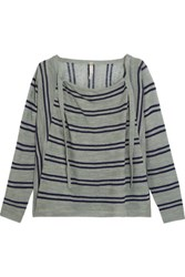 Soyer Baja Draped Striped Linen And Cotton Blend Sweater Gray Green