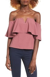 Leith Women's Off The Shoulder Top Burgundy Rose