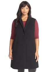Plus Size Women's Eileen Fisher Notch Collar Long Wool Blend Vest
