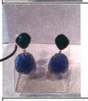 Bahina 18K Yellow Gold Earstuds With Emerald And Tanzanite Multi