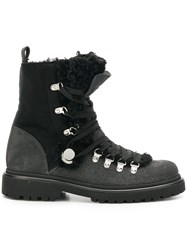 Moncler Glitter Shearling Lined Hiking Boots Black