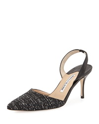 Carolyne Tweed Mid Heel Slingback Pump Black White Manolo Blahnik