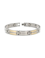 Zoppini Zo Chain Stainless Steel And 18K Gold Rectangular Link Bracelet Silver
