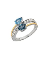 Lord And Taylor Blue Topaz Diamond Sterling Silver 14K Yellow Gold Swirl Ring