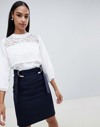 Vesper 3 4 Sleeve Top With Lace Panel Navy