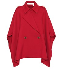 See By Chloe Cotton Blend Poncho Jacket Red