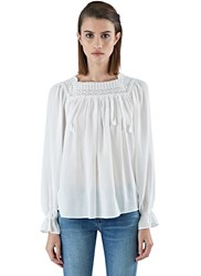 Saint Laurent Crochet Trimmed Gauze Folk Blouse White