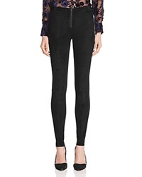 Alice Olivia Zip Front Suede Leggings Black