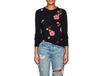 Barneys New York Floral Cashmere Sweater Navy