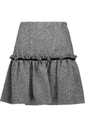 Raoul Badia Velvet Trimmed Ruffled Wool Blend Tweed Mini Skirt Black