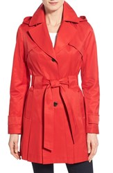 Women's Via Spiga 'Scarpa' Hooded Single Breasted Trench Coat Bistro Red