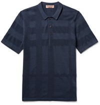 Burberry Pique Panelled Silk And Cotton Blend Polo Shirt Navy