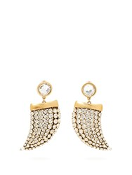 Saint Laurent Crystal Embellished Shark Tooth Clip On Earrings