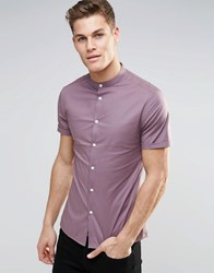 Asos Skinny Shirt In Light Plum With Grandad Collar And Short Sleeves Light Plum Purple