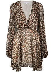 Caroline Constas Plunge Leopard Print Mini Dress Brown