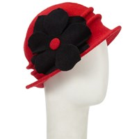 John Lewis Wool Floral Cloche Hat Red Black