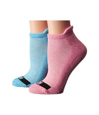 Steve Madden 2 Pack Yoga Barre Socks With Gripper Sayings Coral Aqua Women's Low Cut Socks Shoes Red