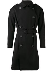 The Reracs Classic Trench Coat Men Silk Polyester Cupro Wool V Black