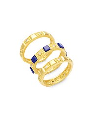 Freida Rothman Classic Bricked Lapis And 14K Gold Plated Sterling Silver Stacked Rings