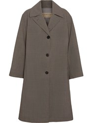 Burberry Oversized Check Wool Single Breasted Coat Brown