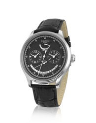 Forzieri Men's Stainless Steel Automatic Dual Time Watch Black