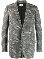 Saint Laurent Cardigan Style Wool Twill Blazer Black