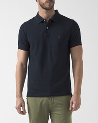 Tommy Hilfiger Slim Fit Navy Blue Stripe Reverse Collar Polo