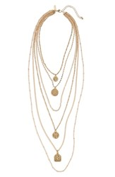 Topshop Layered Coin Pendant Necklace Gold