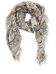 Etro Printed Silk And Wool Scarf Multicolor