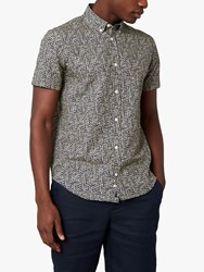 Jaeger Dash Print Short Sleeve Shirt Dark Blue