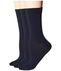 Hue Solid Femme Top Socks 3 Pack Navy Women's Crew Cut Socks Shoes