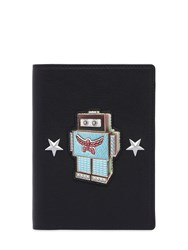 Mcm Roboter Leather Passport Holder Black