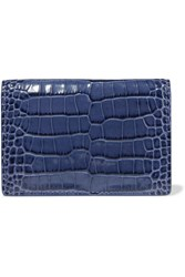 Smythson Mara Croc Effect Patent Leather Wallet