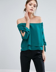 Coast Leyli Bardot Top Teal Green