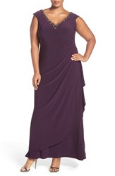 Alex Evenings Plus Size Women's Embellished V Neck Side Drape Jersey Gown