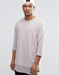Asos Oversized Long Sleeve T Shirt With Knitted Hem Panel Pink