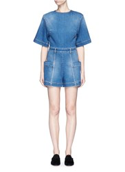 Stella Mccartney Cutout Back Cotton Denim Rompers Blue