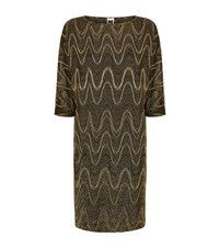 M Missoni Lurex Wave Knitted Dress Female Gold
