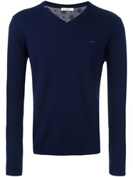 Sun 68 V Neck Jumper Blue
