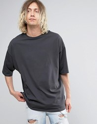 Asos Super Oversized T Shirt With Half Sleeve In Washed Black Bal