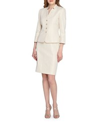 Tahari By Arthur S. Levine Petite Beaded Star Neck Jacket And Skirt Suit Champagne