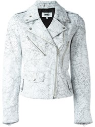 Maison Martin Margiela Mm6 Crack Effect Biker Jacket White