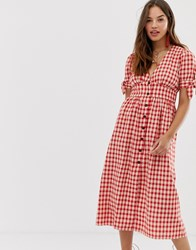 Moon River Gingham Midi Dress Red