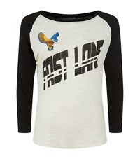 Maje Toulon Fast Lane Embroidered T Shirt Female White