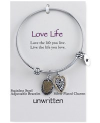 Unwritten Two Tone Crystal Accented Love Life Charm Adjustable Bangle Bracelet In Stainless Steel With 14K Gold Plating Multi