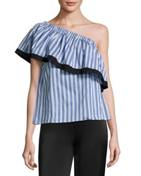 Milly Ruffled One Shoulder Striped Top Blue