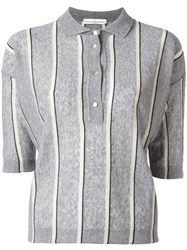 Golden Goose Deluxe Brand Striped Knit Polo Shirt Grey