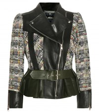 Alexander Mcqueen Tweed And Leather Jacket Multicoloured