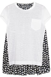 Sacai Linen Blend Jersey And Printed Voile T Shirt