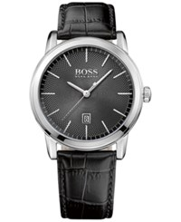 Boss Hugo Men's Classic Black Leather Strap Watch 40Mm 1513397